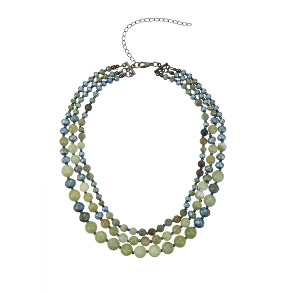 STONE BEADED GREEN ONYX NECKLACE