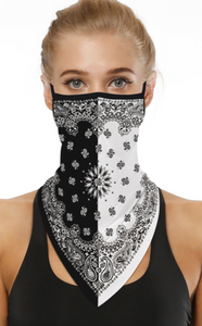 BLACK WHITE FACE BANDANA