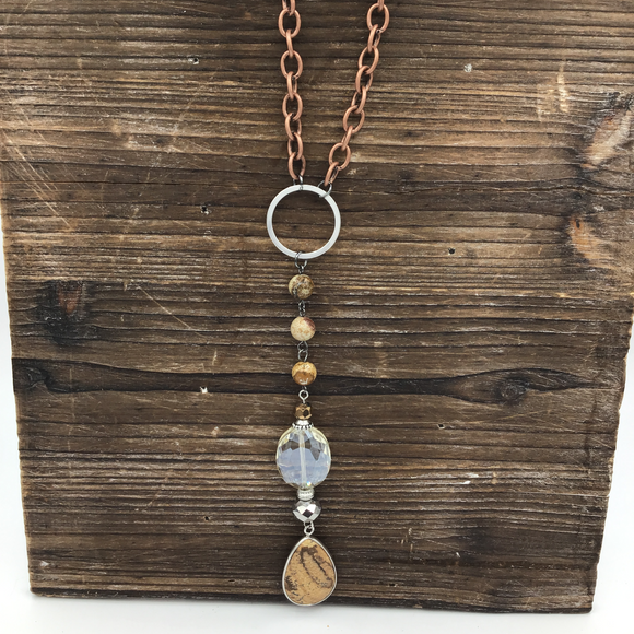 HANDMADE MIXED CHAIN WITH JASPER & GLASS DROP NECKLACE