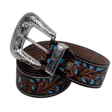 TURQUOISE HAND-TOOLED LEATHER BELT