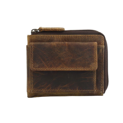 BROWN GLAZE LEATHER AND HAIRON WALLET BY MYRA BAGS