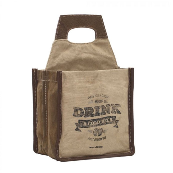 JUST KEEP CALM AND DRINK BEER CADDY / TOTE by MYRA BAGS