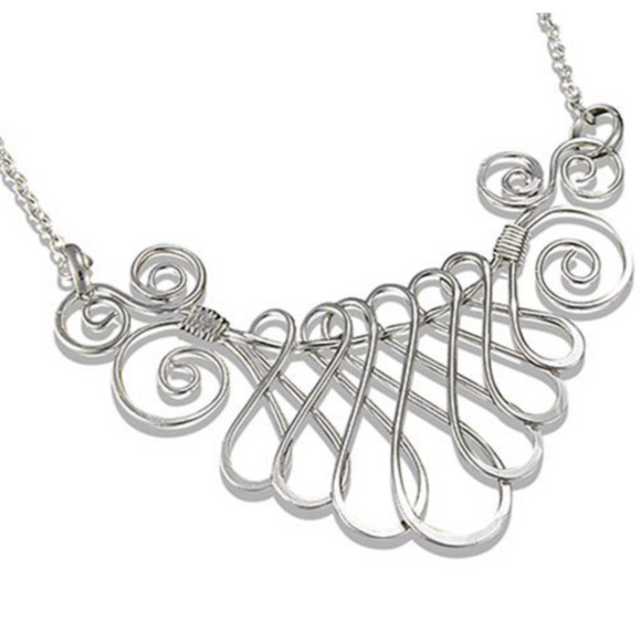 ANJU HANDCRAFTED SILVER-PLATED SWIRL NECKLACE SET
