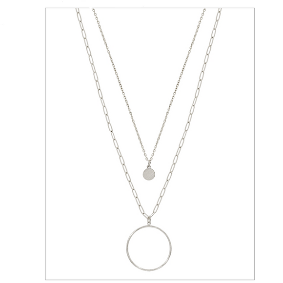 MATTE SILVER OPEN CIRCLE NECKLACE