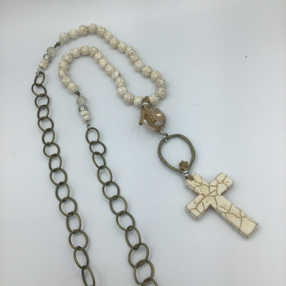 HANDMADE CHAIN & PRECIOUS STONE BEADED CROSS NECKLACE (WITHOUT EARRINGS)