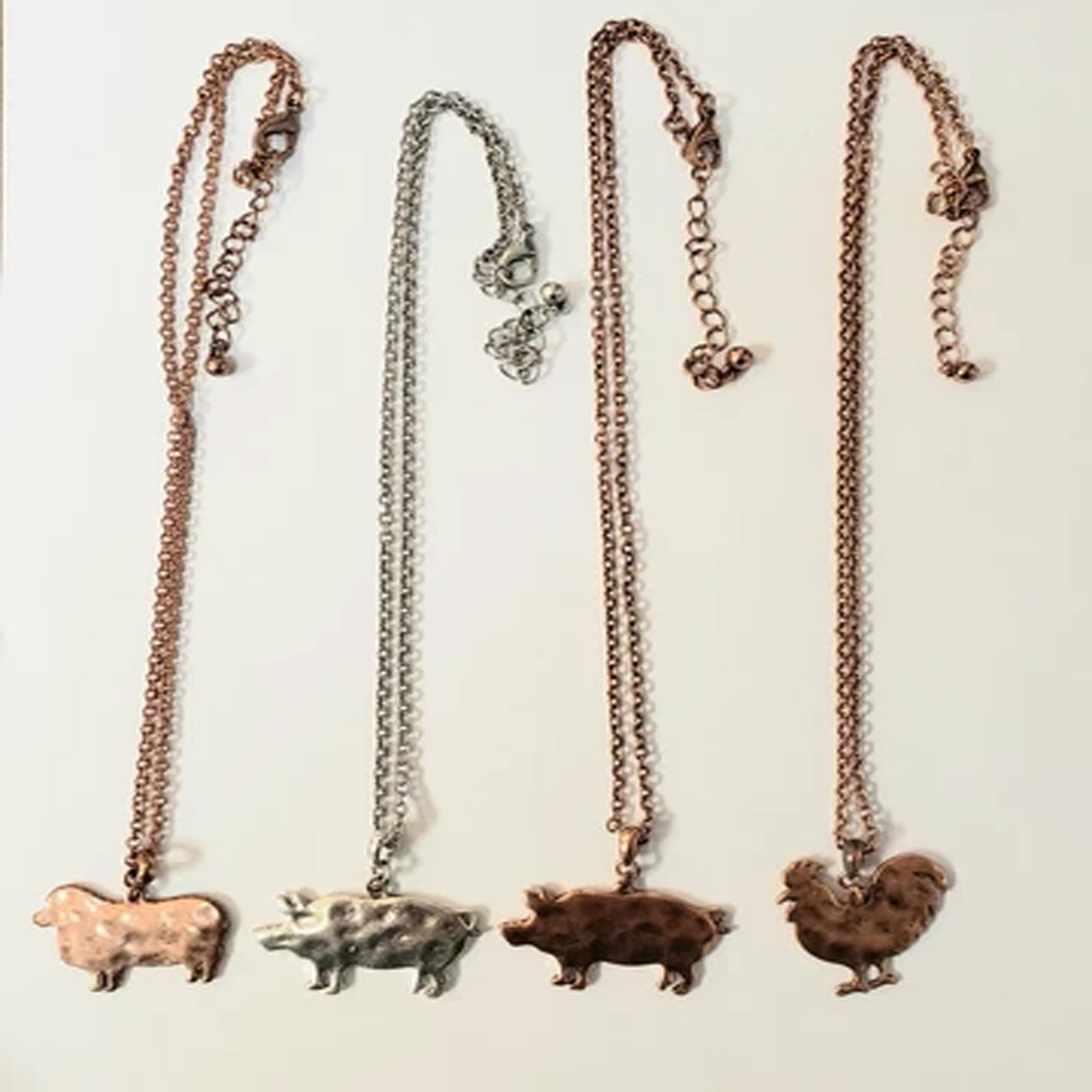 "18"" COPPER AND SILVER FARM ANIMALS NECKLACE"