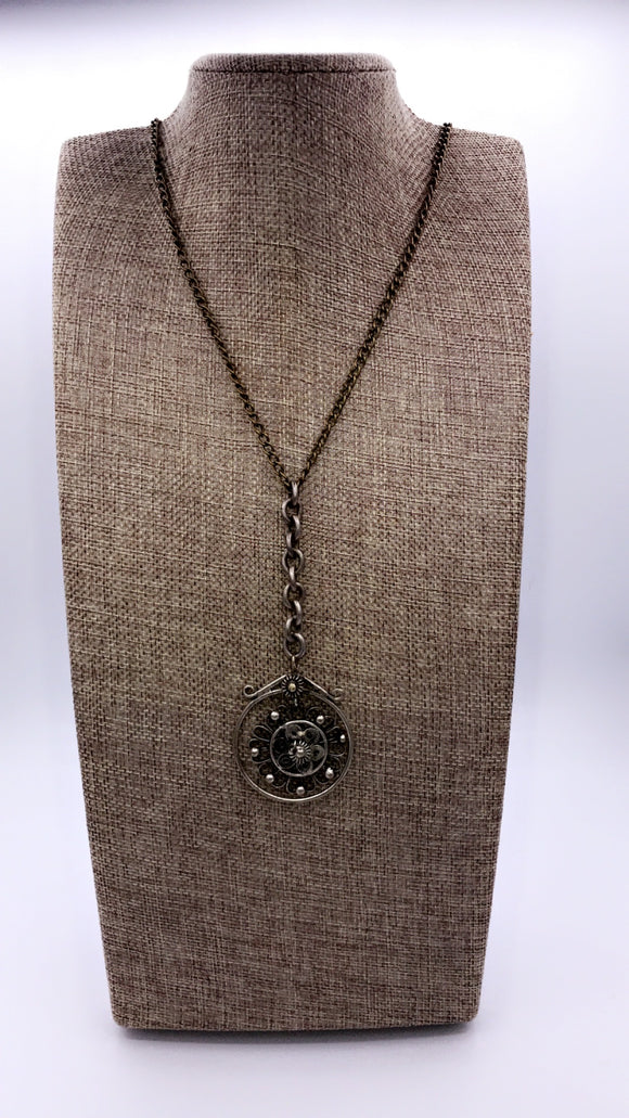 HANDMADE TURKISH PEWTER PENDANT NECKLACE