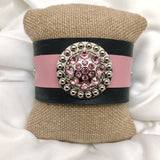 HANDMADE PINK & BLACK LEATHER CUFF