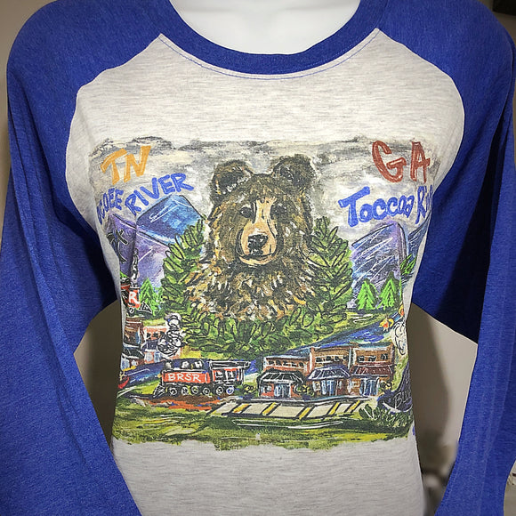 GA & TN STATELINE RAGLAN T-SHIRT ON ROYAL BLUE SLEEVES