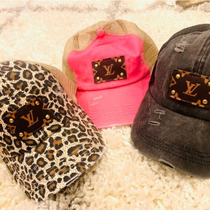 UPCYCLED DESIGNER MONOGRAM PATCH CRISS CROSS (PONYTAIL) CAP