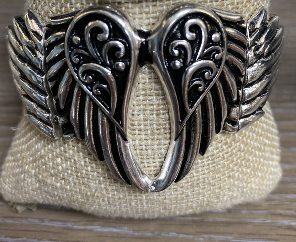 STRETCH BAND ANGEL WING BRACELET