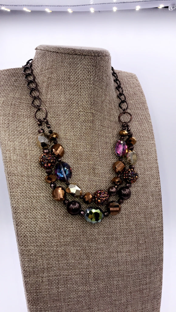 JEWEL TONED CHUNKY STATEMENT NECKLACE