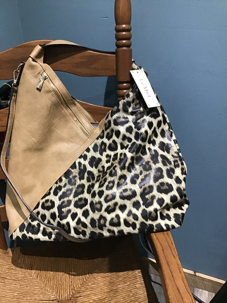 CRISS CROSS LEOPARD AND LEATHER HANDBAG