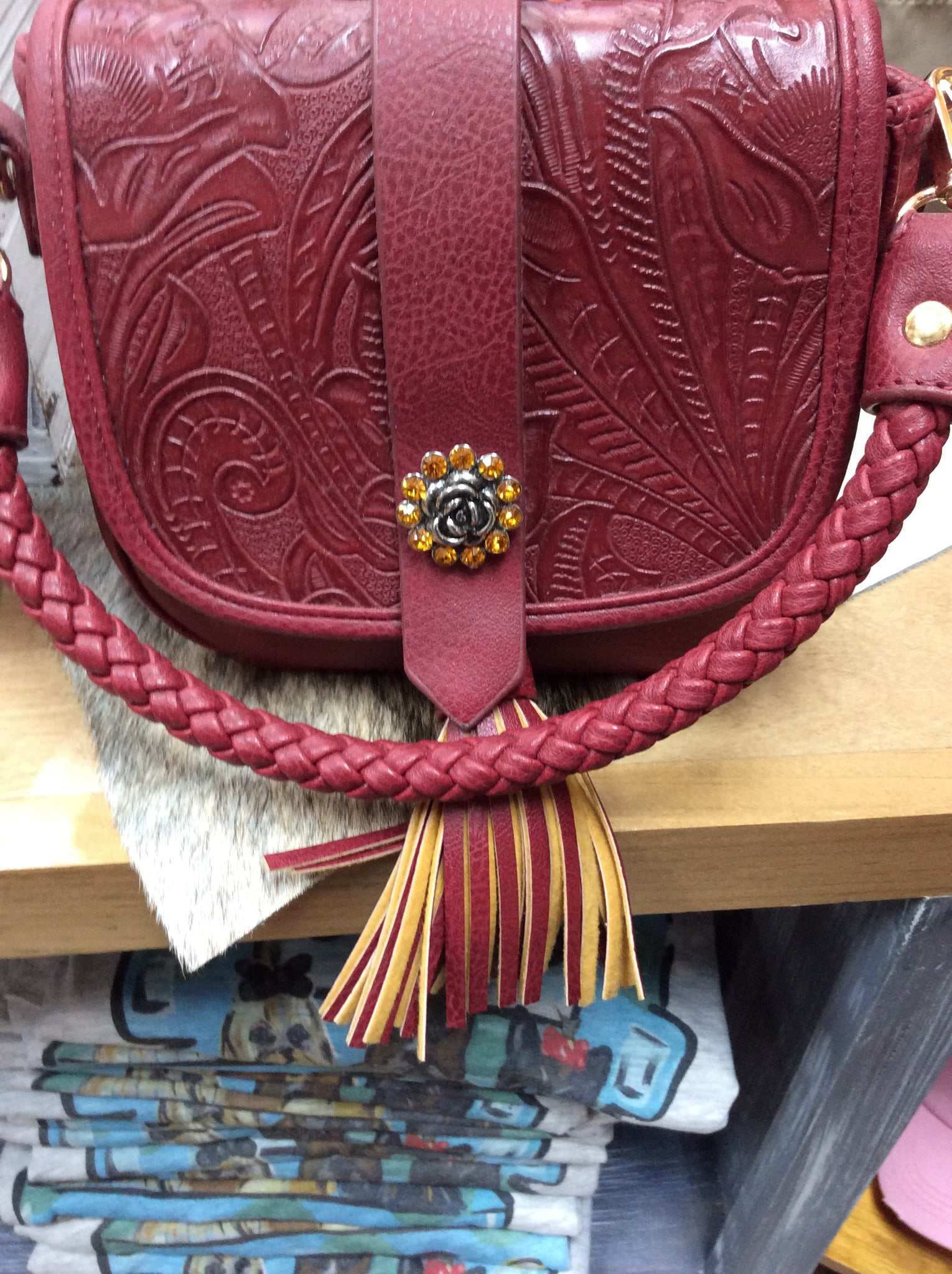 GINGER SNAP PURSE - SM MAROON TASSLE