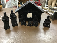 HAND CRAFTED COAL NATIVITY SCENE