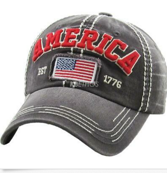 AMERICA BASEBALL CAP/HAT (GRAY)