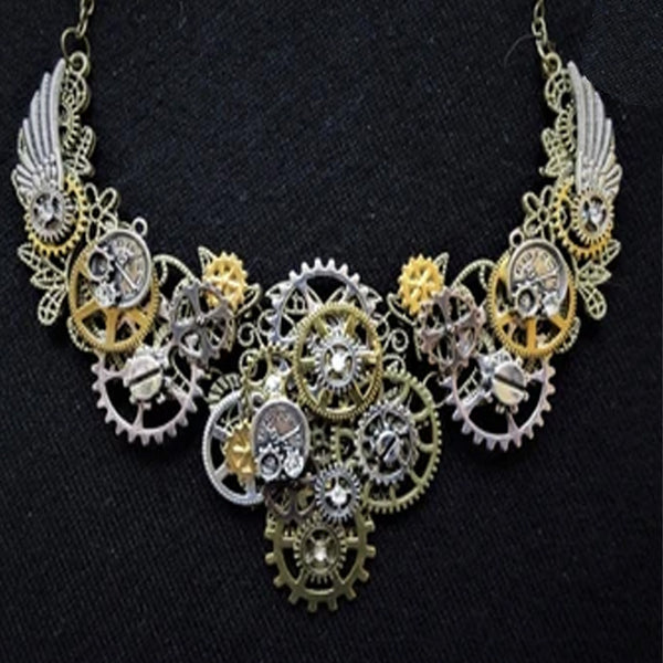 HANDMADE STEAMPUNK STATEMENT NECKLACE