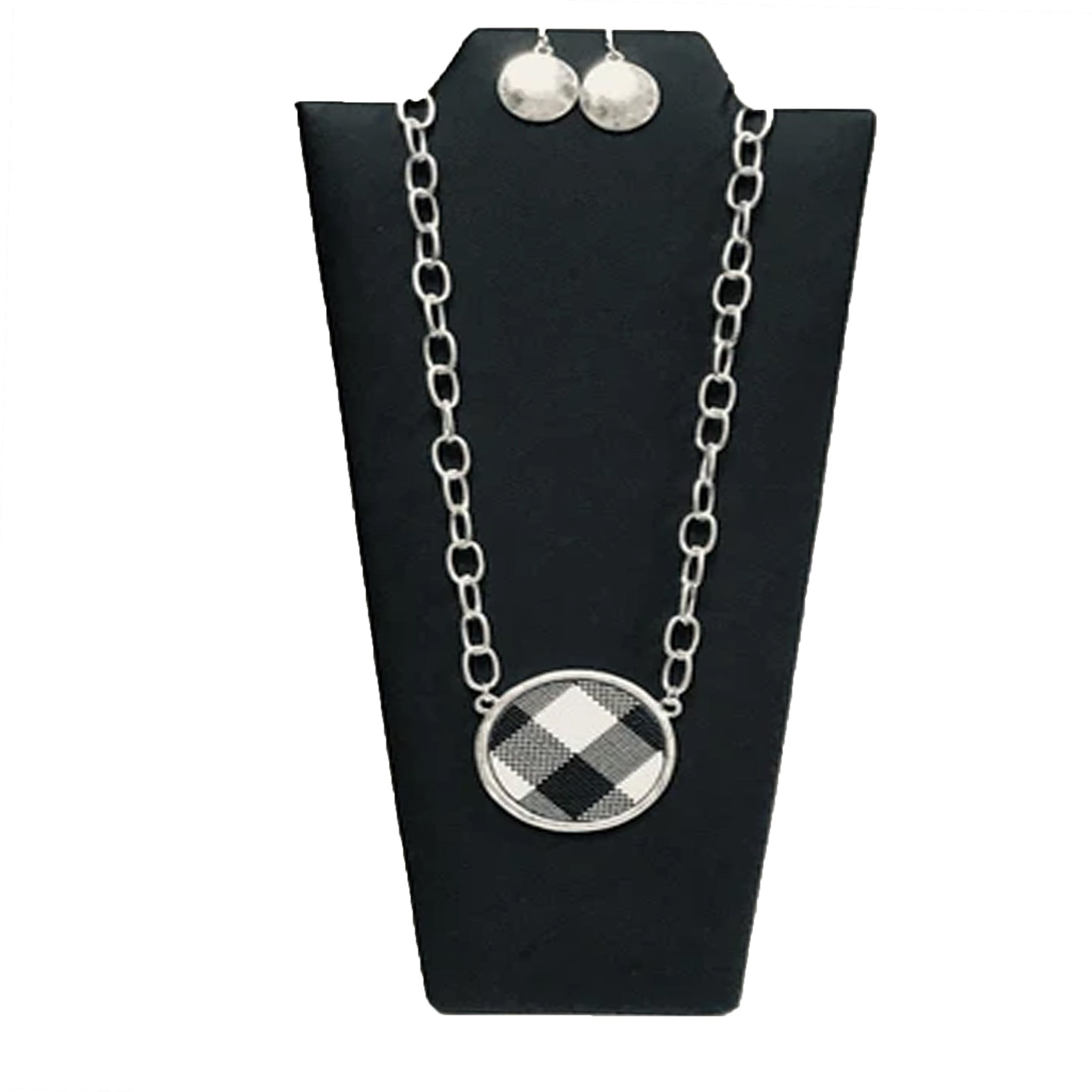 BLACK AND WHITE CHECKER NECKLACE SET