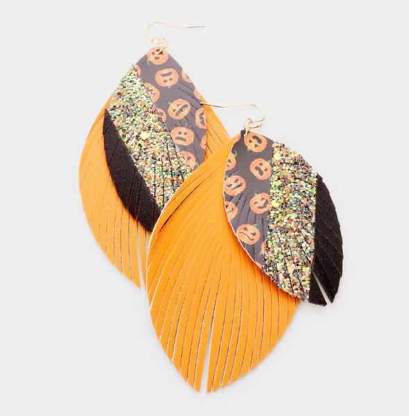 PUMPKIN LEATHER EARRINGS