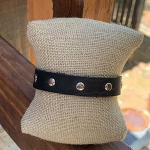 HANDMADE LEATHER SILVER STUDDED BRACELET