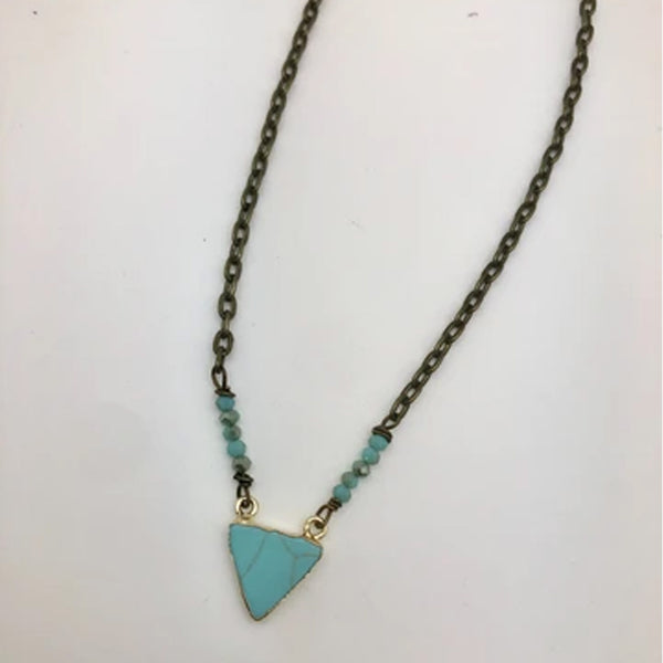 HANDCRAFTED TURQUOISE TRIANGLE NECKLACE