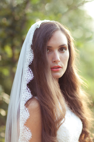 Silk Tulle Veil With French Lace Trim