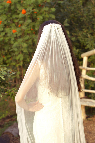 Copy of Blush Pink Applique Veil