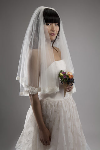 Silk Tulle Veil with Daisy Lace Trim
