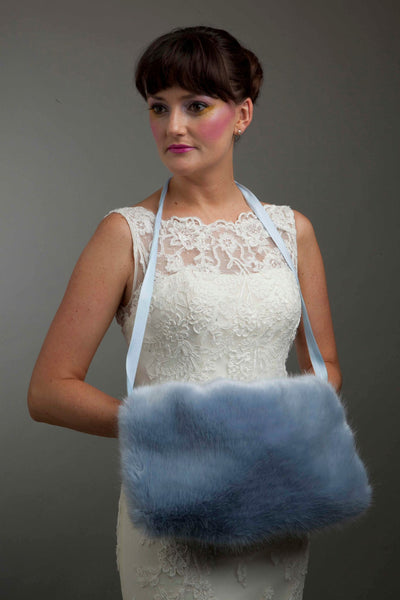 Blue Faux Fur Muff