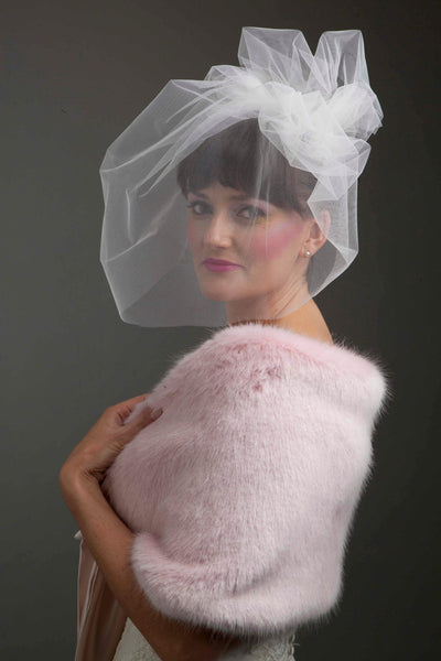 Blush pink cloud veil