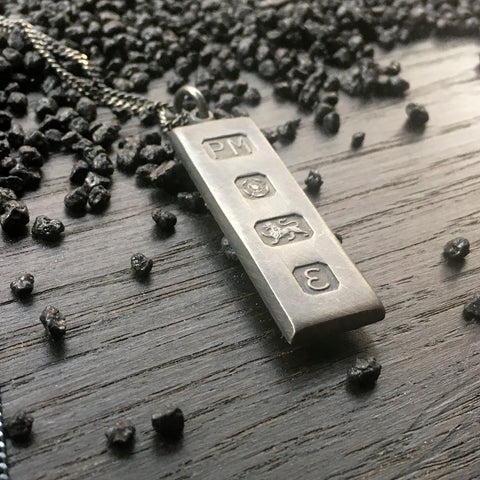 1979 Vintage Large Silver Bullion Ingot Necklace Hallmarked