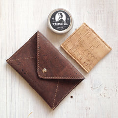 Cork Envelope Medium Wallet Dark Brown