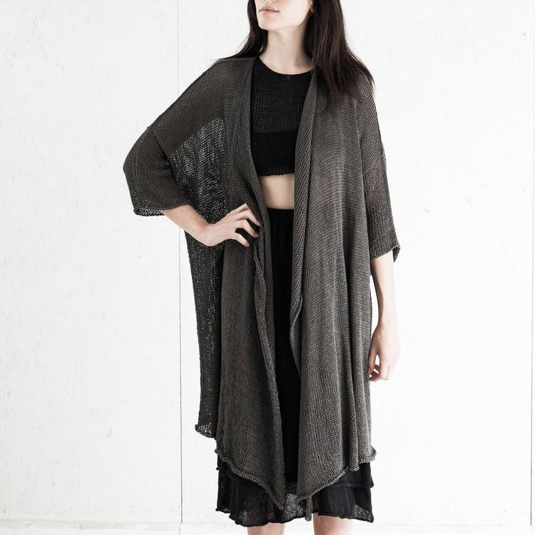 Bamboo Robe Grey, Hand Knitted
