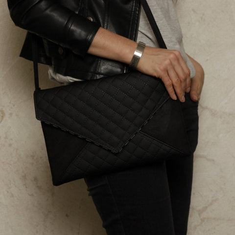 Clutch bag envelope black quilted vegan faux leather suede