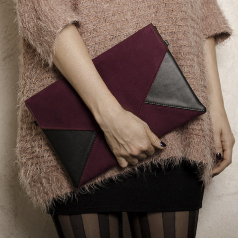 Clutch bag envelope burgundy / black vegan faux leather suede