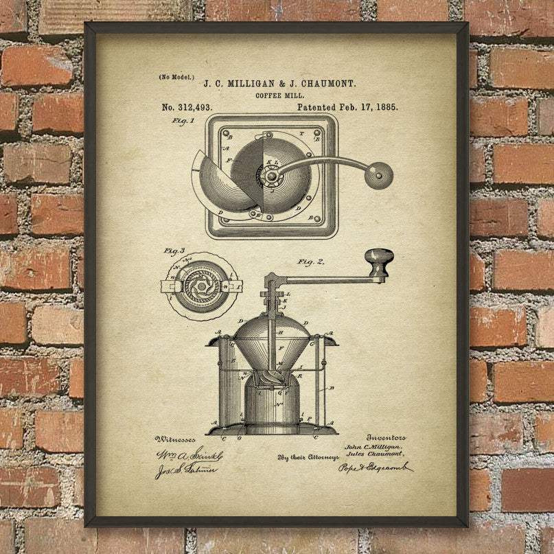 Coffee Mill 1885 Patent Print (A4)