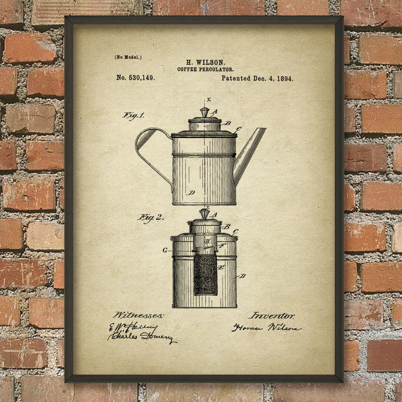 Coffee Percolator 1894 Patent Print (A4)