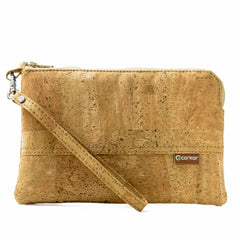 Cork wristlet clutch ipad mini size Light Brown