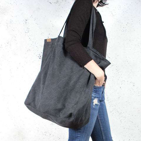7e9604159 Dark Grey Organic Cotton Oversized Large Tote Shopper Bag – Wild & Arrow