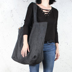 Dark Grey Organic cotton oversized large Tote shopper bag