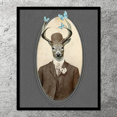 Deer Butterfly Art Print