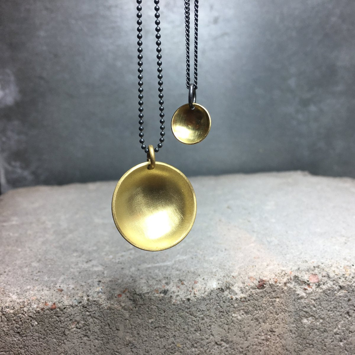 Dome Small Necklace Golden Brass or Silver