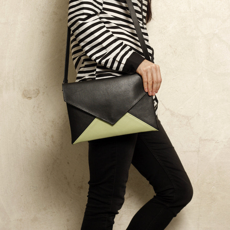 Clutch bag envelope Black / Cream vegan faux leather suede