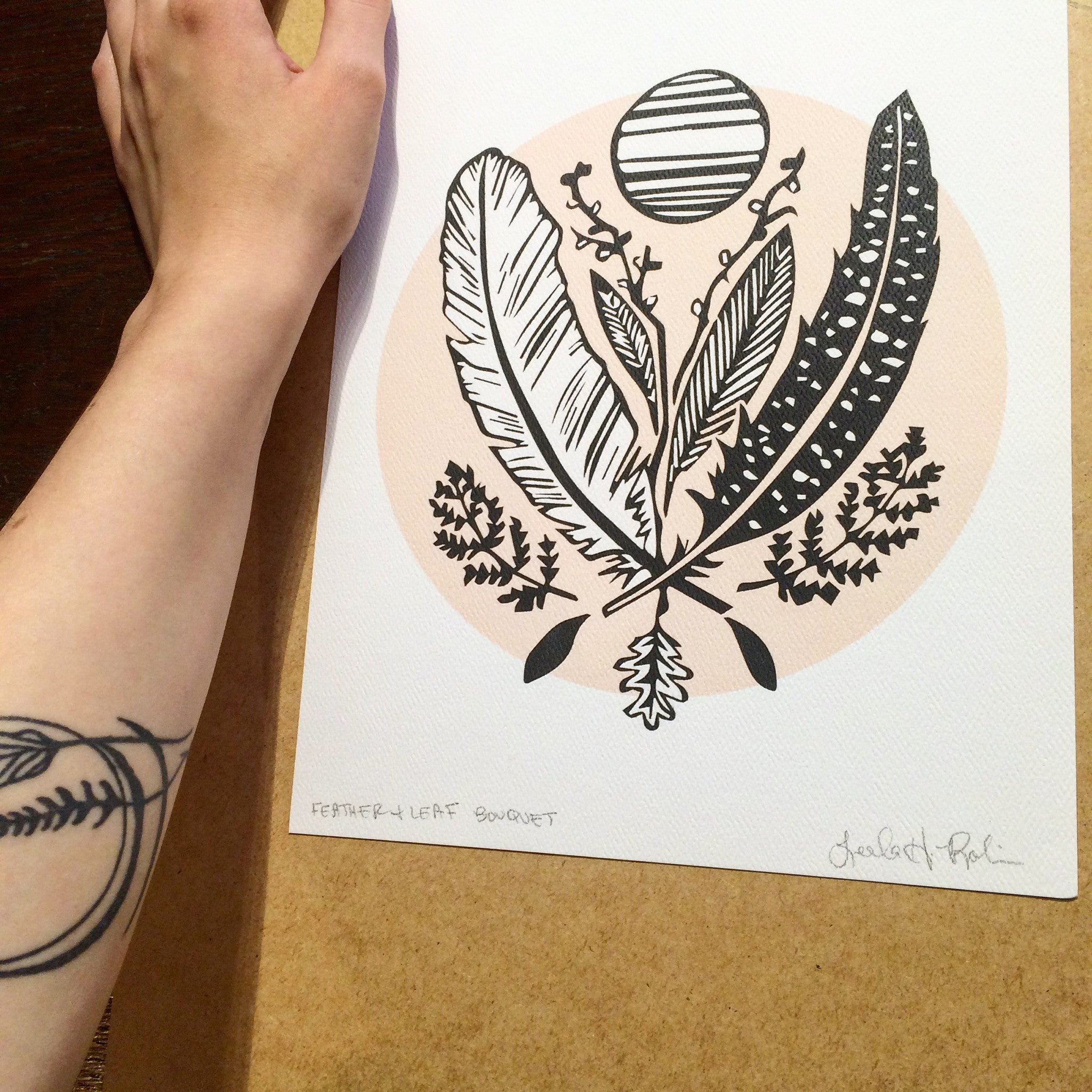 Feather and Leaf Bouquet Art Print