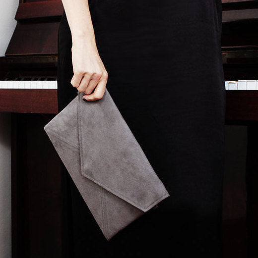 Clutch Bag Envelope Light Grey Vegan Faux Suede