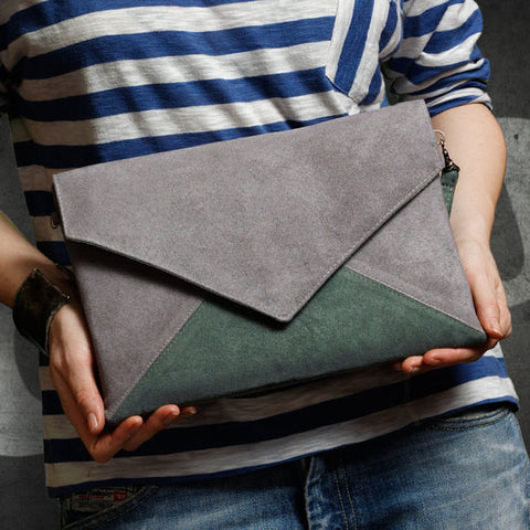Clutch bag envelope green / grey vegan faux leather suede