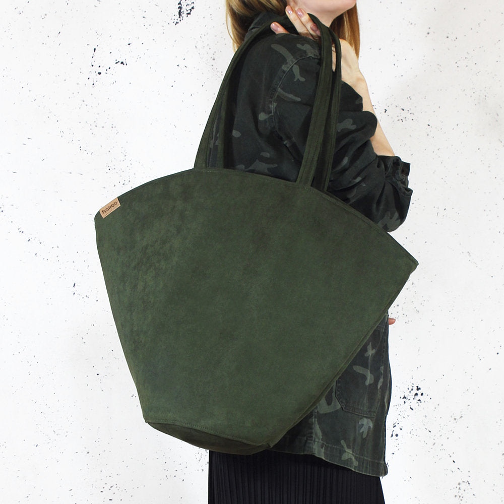 Dark Green Shelly Shoulder Bag in Vegan Faux Suede