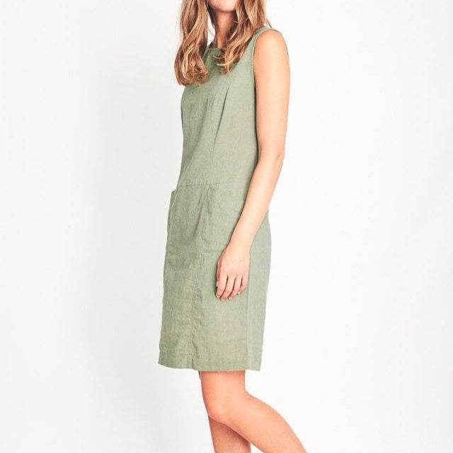 Matilde Linen Pinafore Dress Green