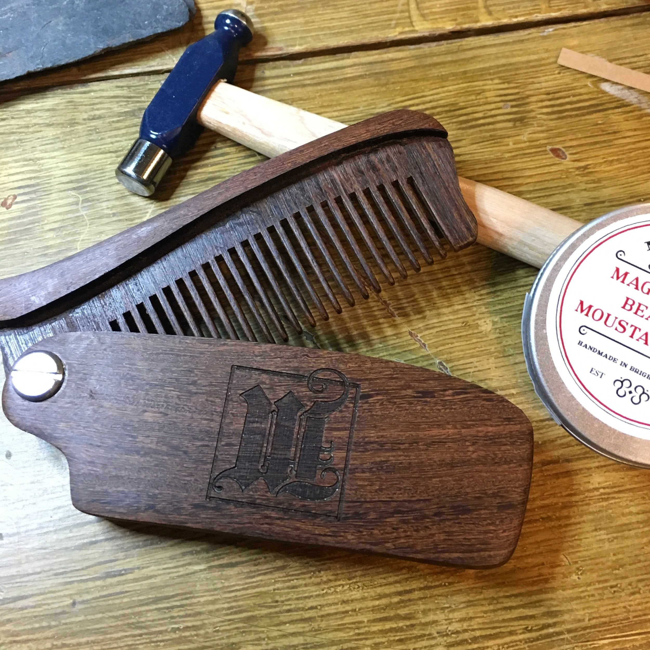 Folding Beard Comb - Hand Carved Rosewood