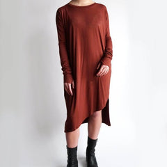Sliver Long Sleeve Dress Tunic - Rust
